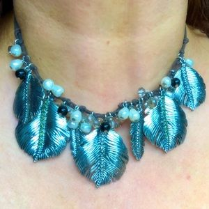 Vintage Dangly VB Silver Leaf Necklace